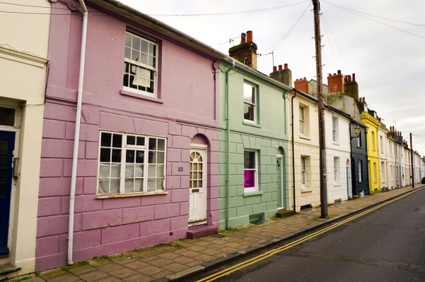 Brighton's colorful buildings